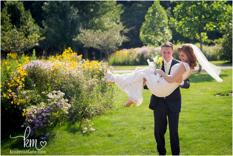 bride and groom at Avon Town Hall Park