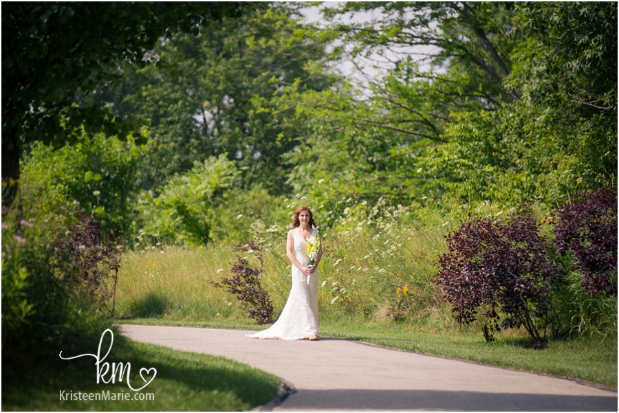 Here comes the bride down path at Avon Town Hall Park