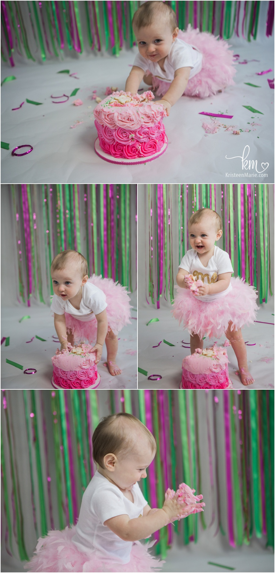 Giselle Is One Pink And Green 1st Birthday Cake Smash