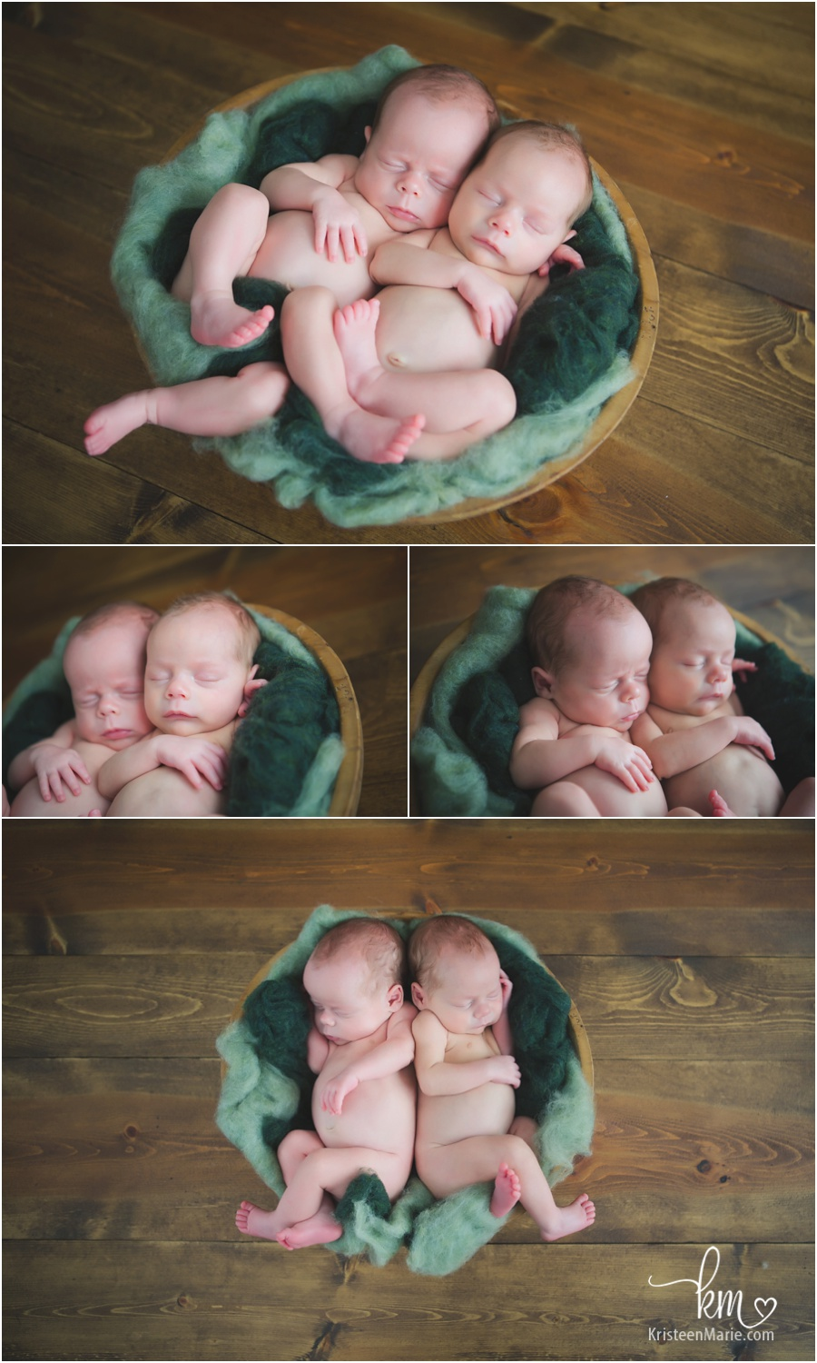 newborn twin boys posing
