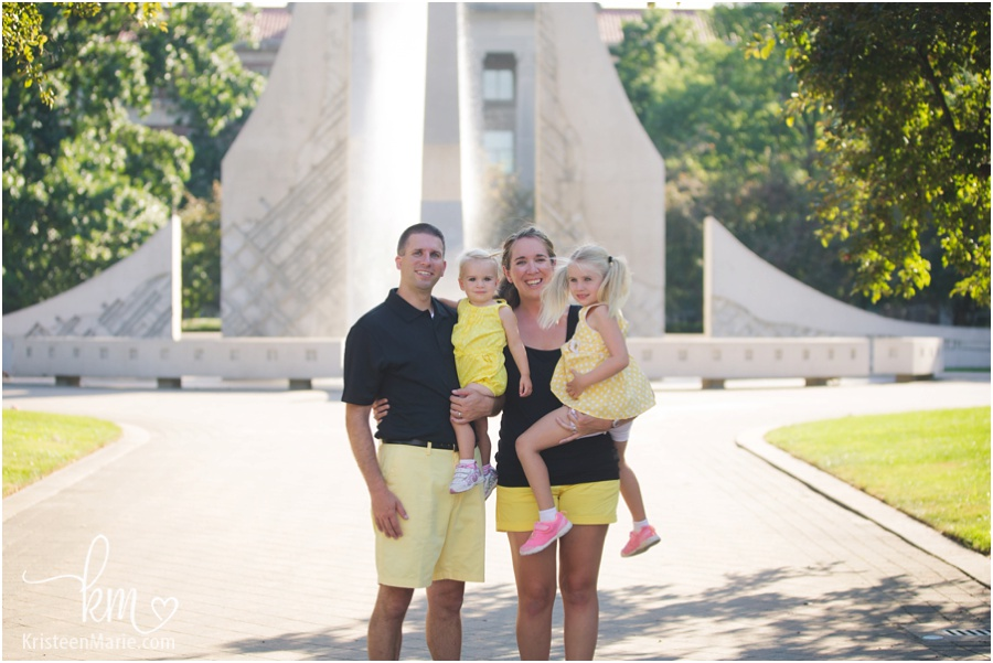 Family picture in front of Purdue engeneering fountain