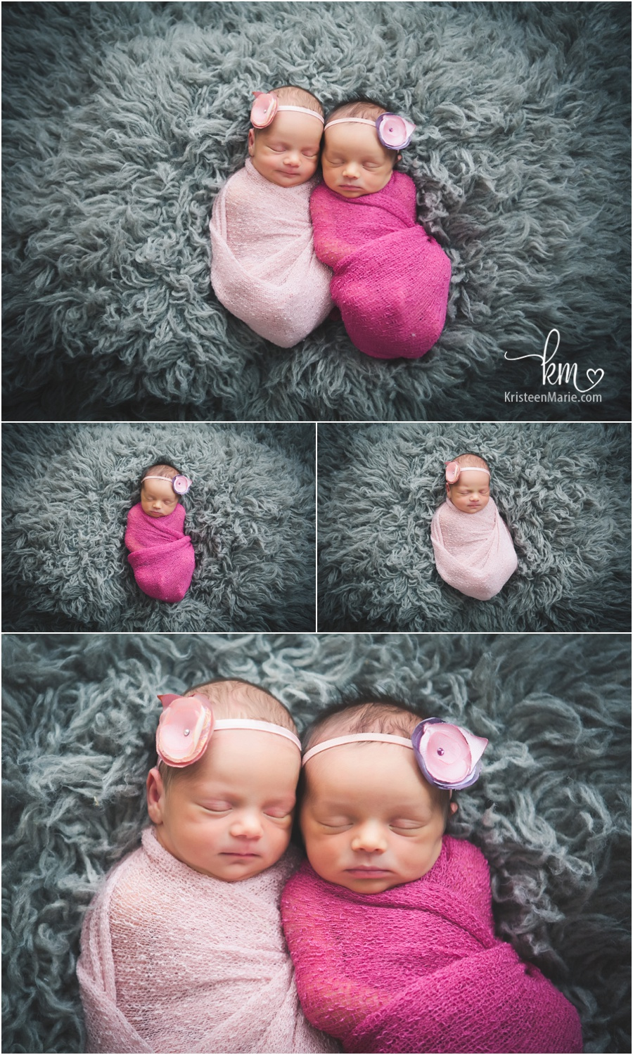 pink and grey - newborn twins girls pictures