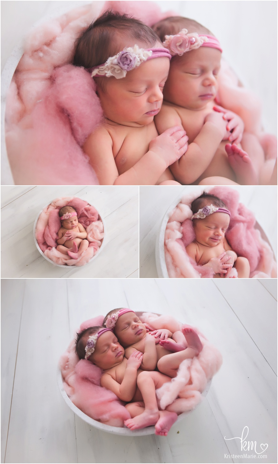 newborn twin girl pose