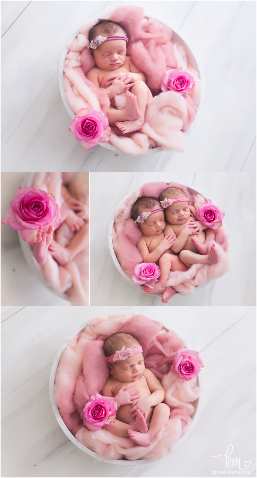 twin girls with fresh flowers - roses and pink