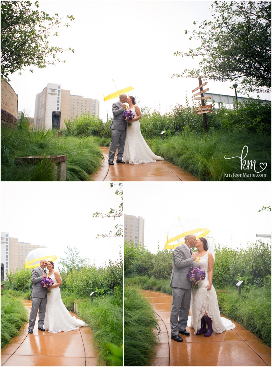wedding pictures in rain with unbrella and rain boots