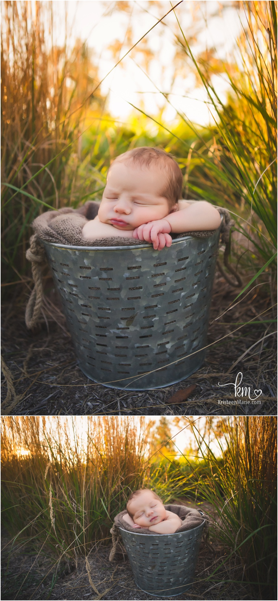 newborn baby in a bucket at sunset