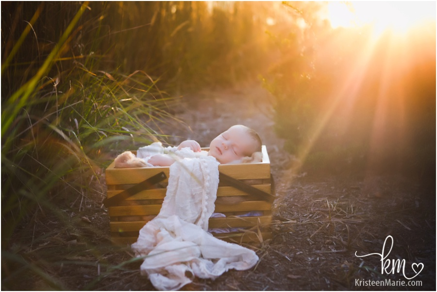 Sunset outdoor newborn photography in Carmel, IN