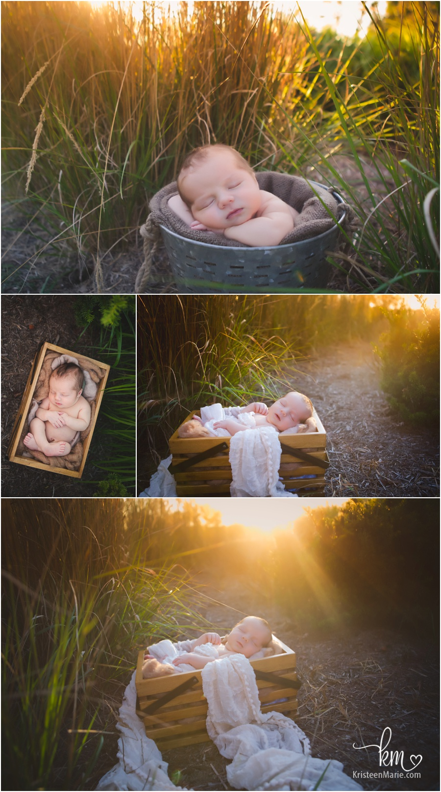 outdoor newborn photography at sunset