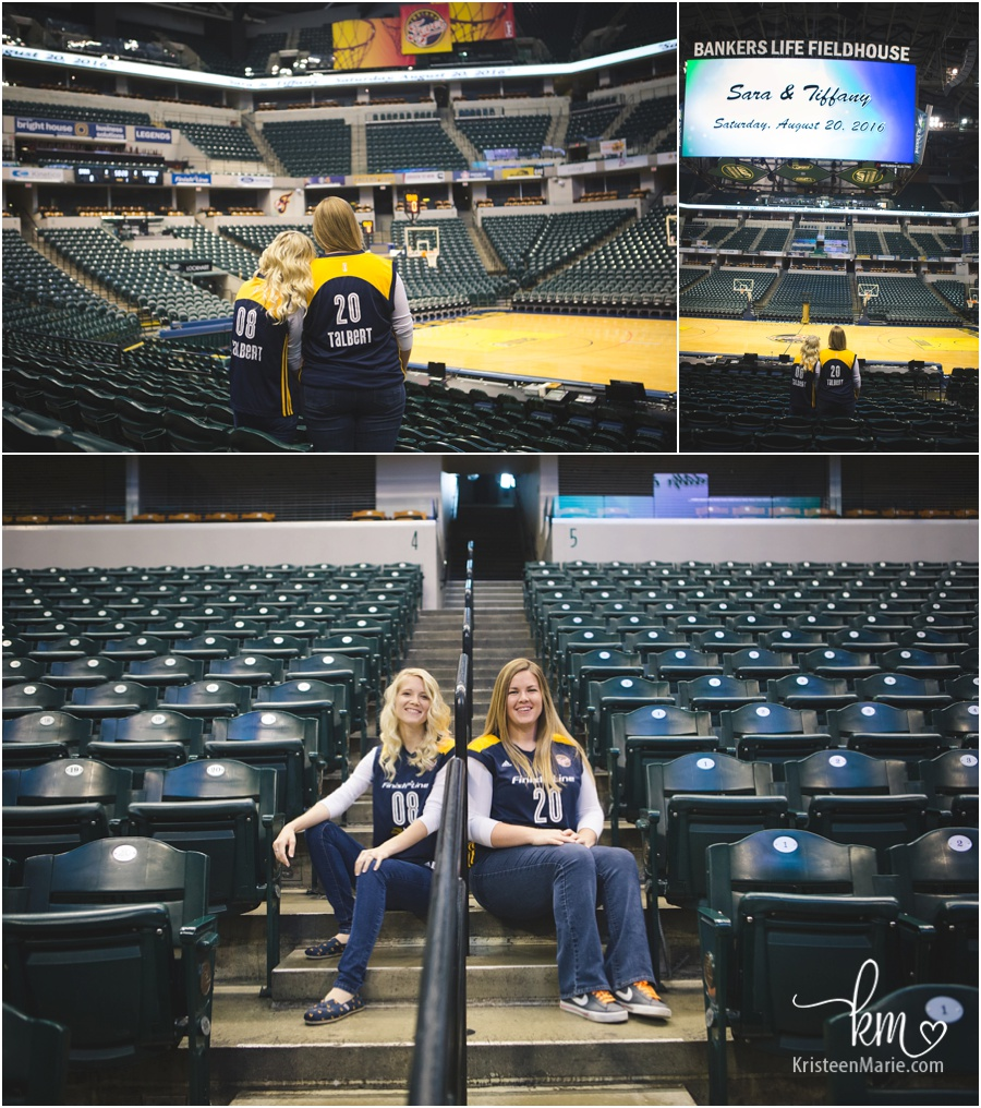 Lesbian engaged couple at Bankers Life Fieldhouse for Feaver Game