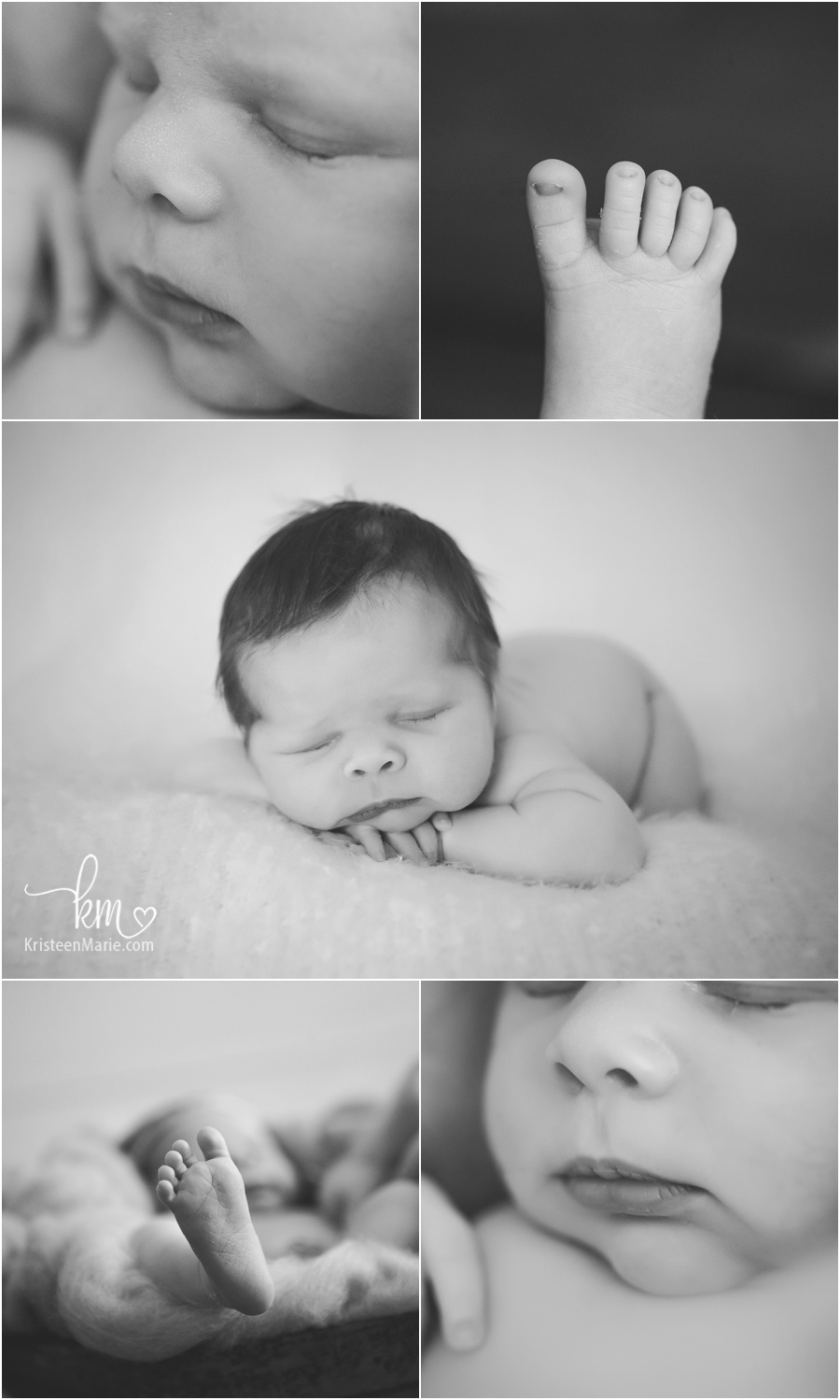 newborn baby features in black and white