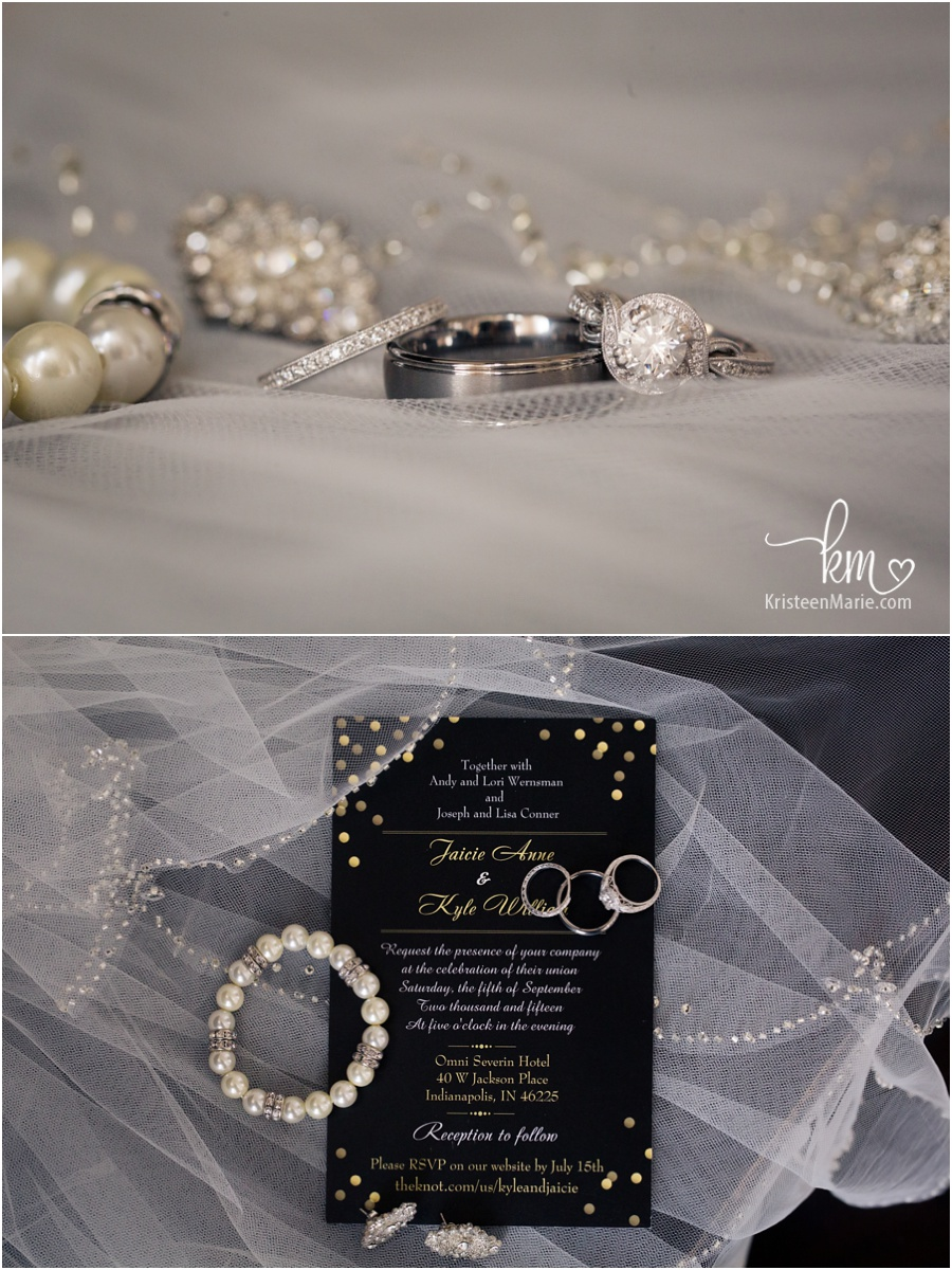 wedding detials - invite, veil, rings, and jewlery