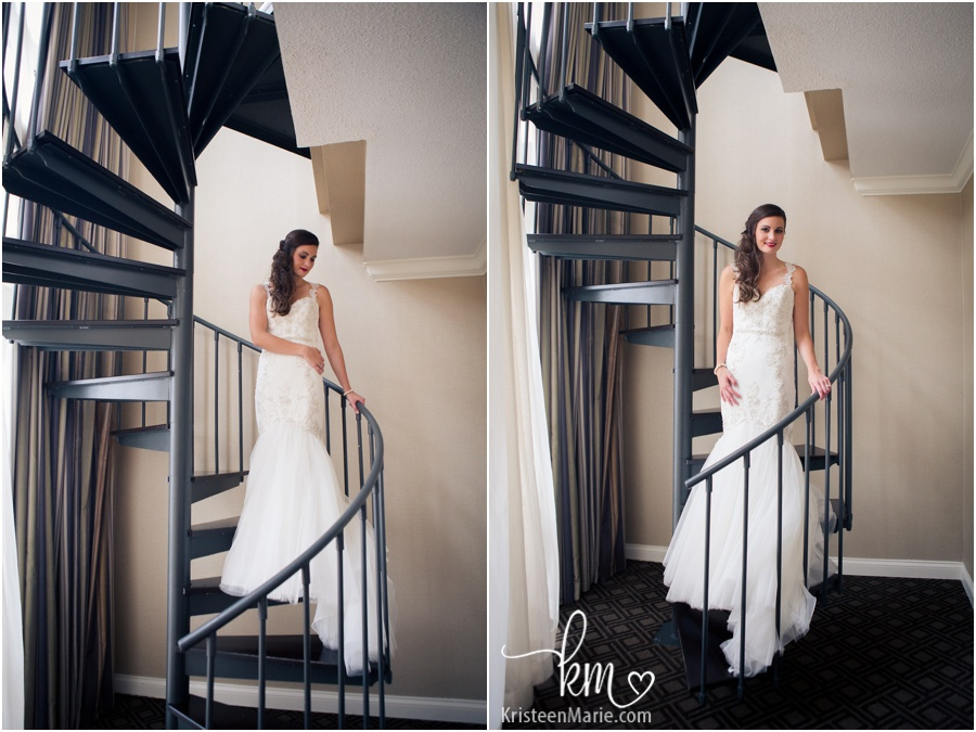 Stunning bride on spiral staircase