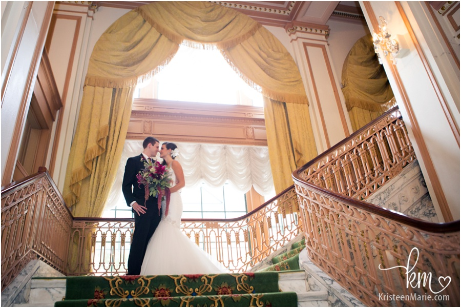 Bride and groom in Omni Severin Hotel