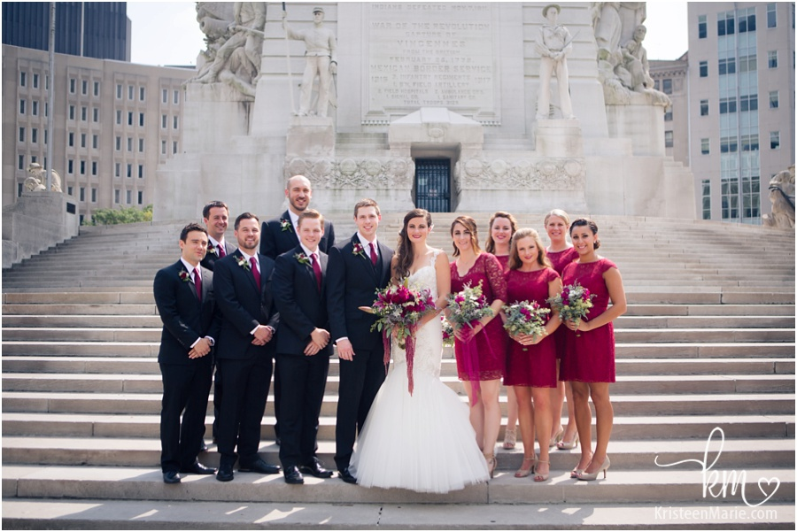Wedding party on circle in Downtown Indianapolis