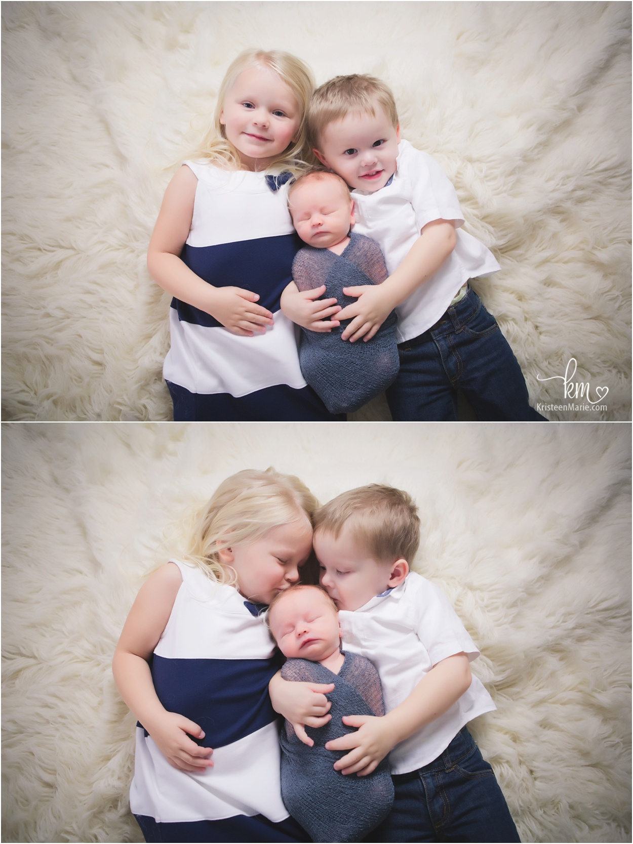 three siblings with newborn baby