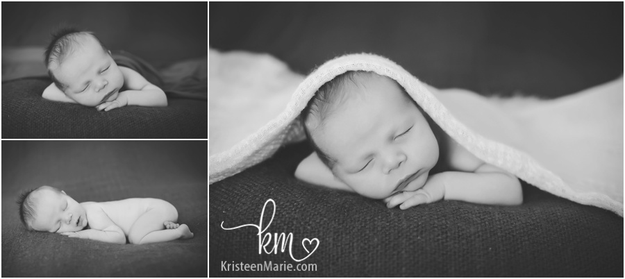 black and white newborn baby photography by KristeenMarie Photography