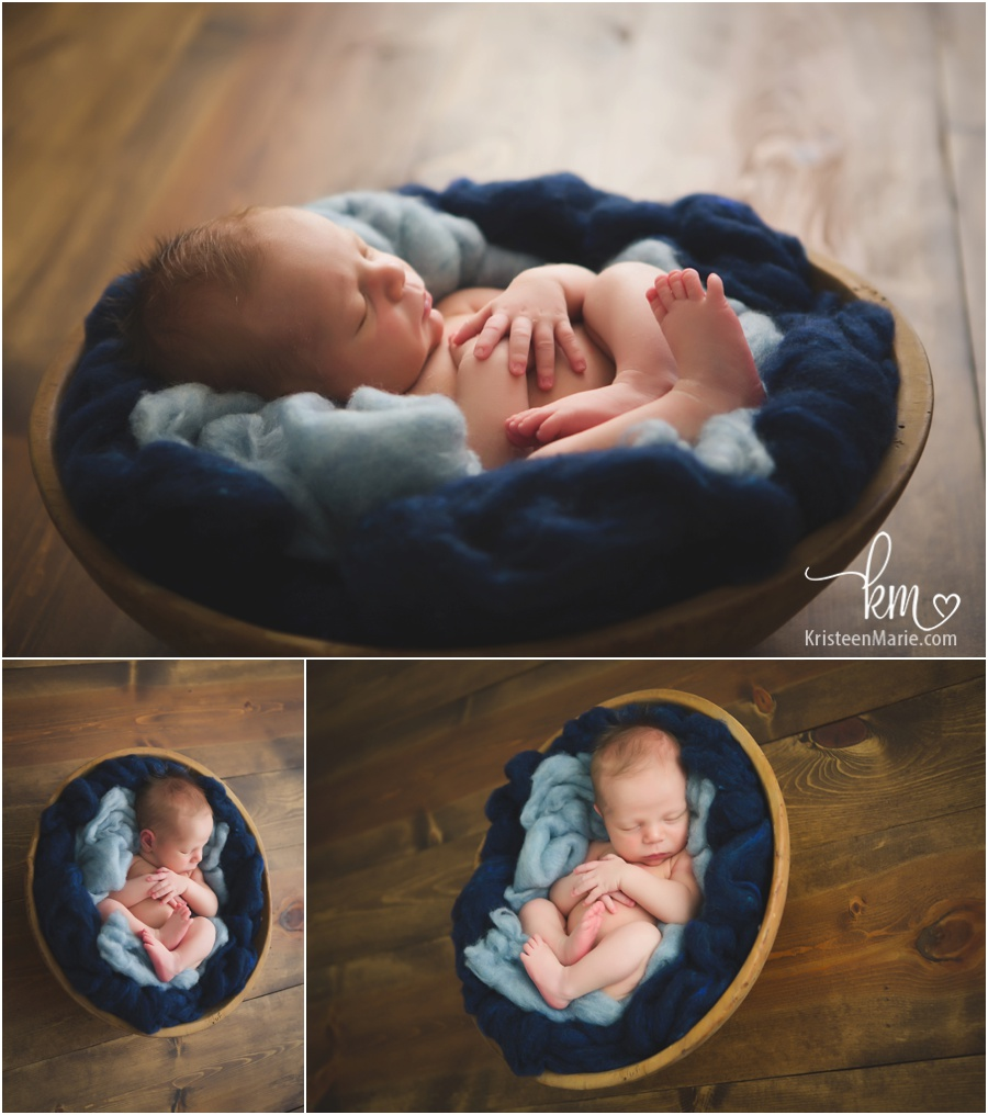 newborn boy in bowl - rustic wood and blue fluff