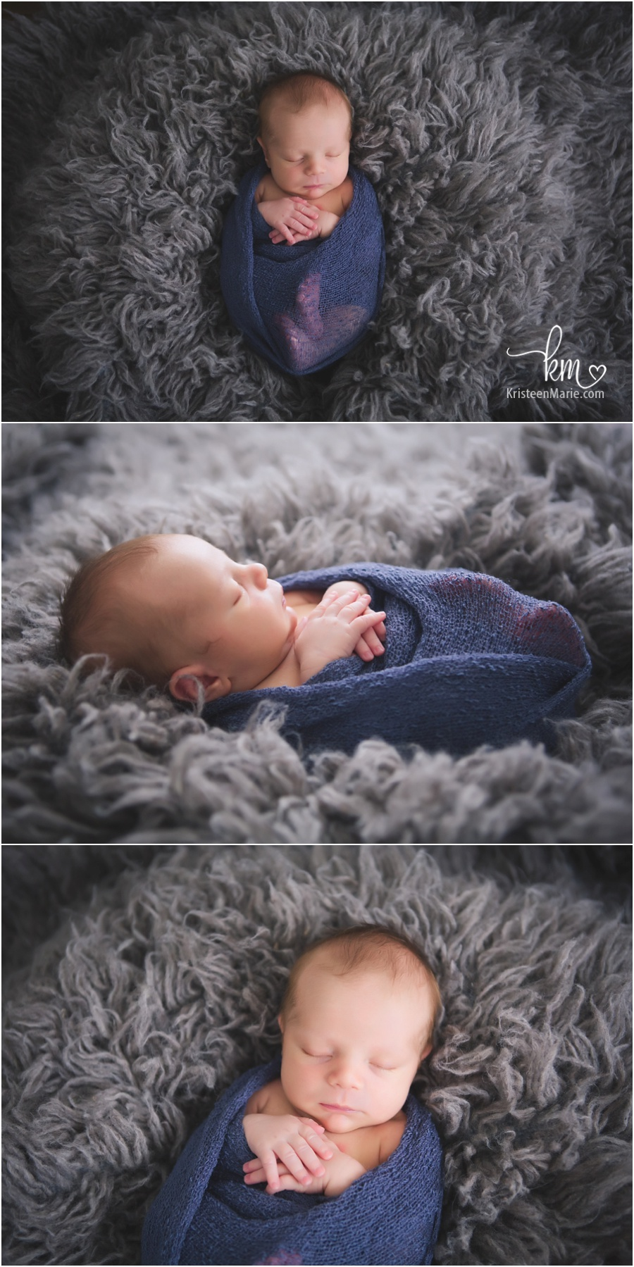 wrapped newborn baby - blue and grey