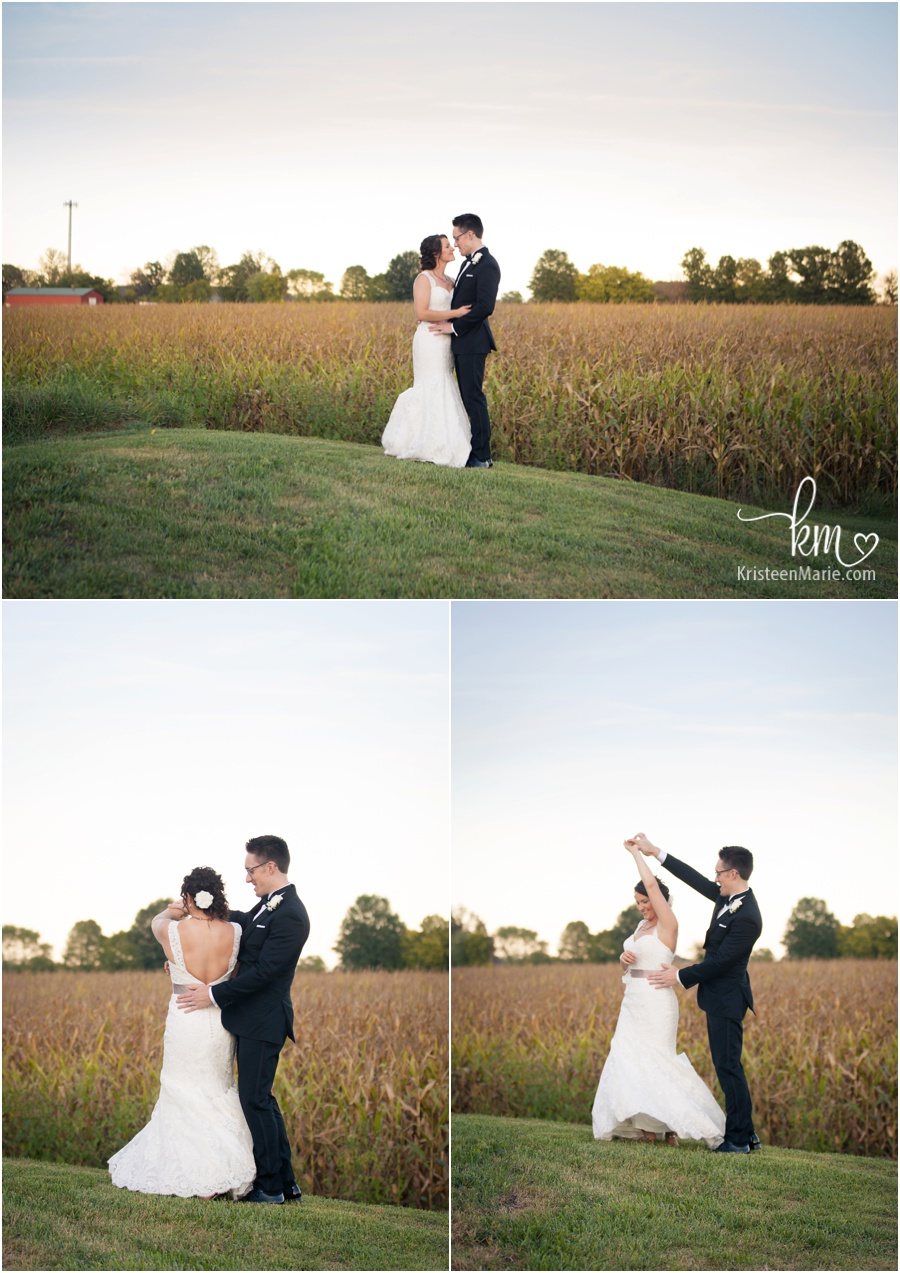 cornfields in background with bride and groom