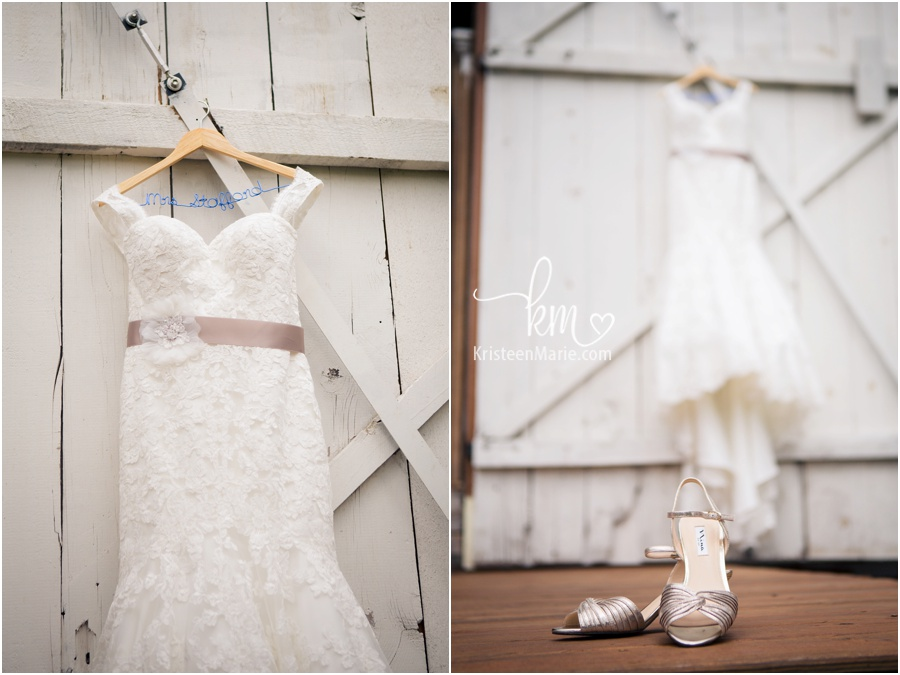 wedding dress on farmhouse at Morgan Acres in Indianapolis, Indiana