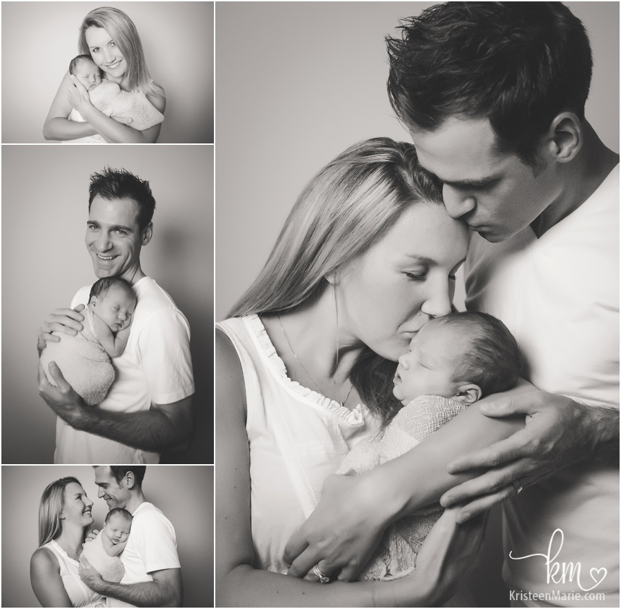 family newborn pictures in black and white