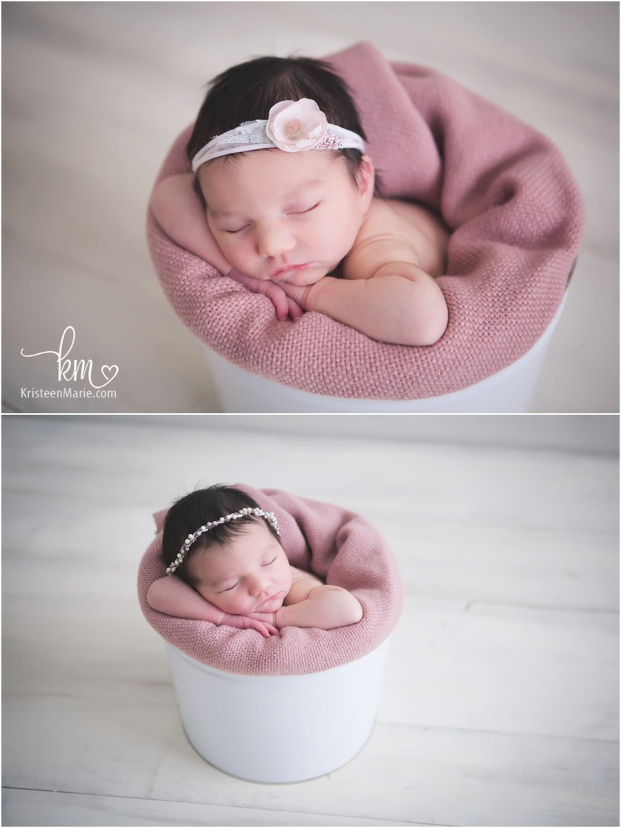 baby in a bucket - pink and cream