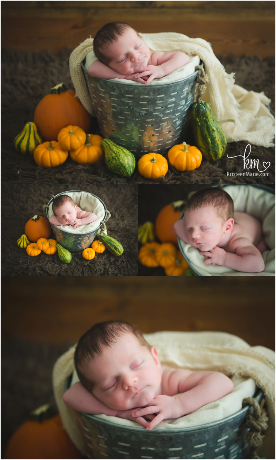 Fall themed newborn pictures - fall newborn photography - pumpkins and more