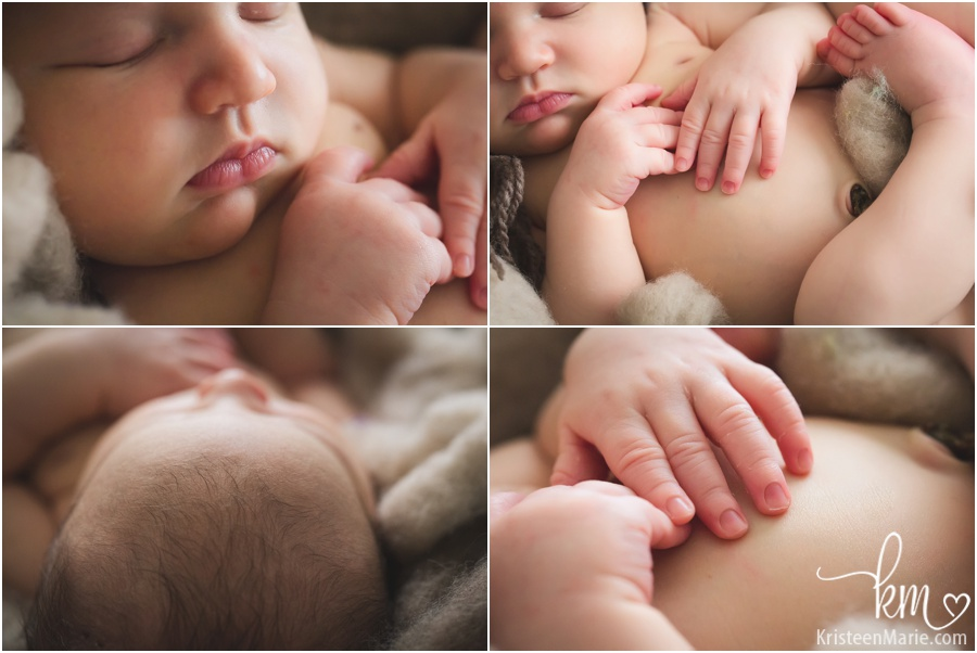 sweet baby features - hands, toes, nose, and hair
