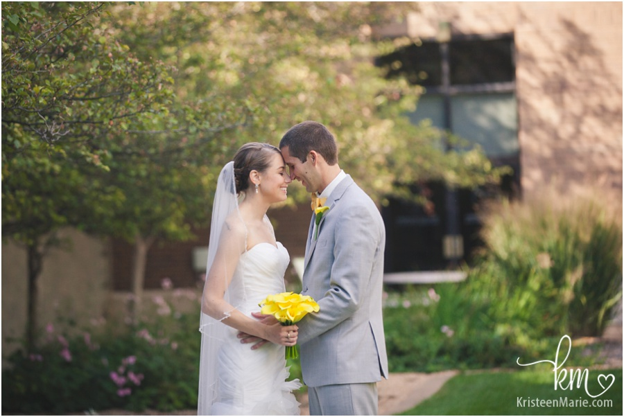 wedding picture of bride and groom near Indiana Historical Center