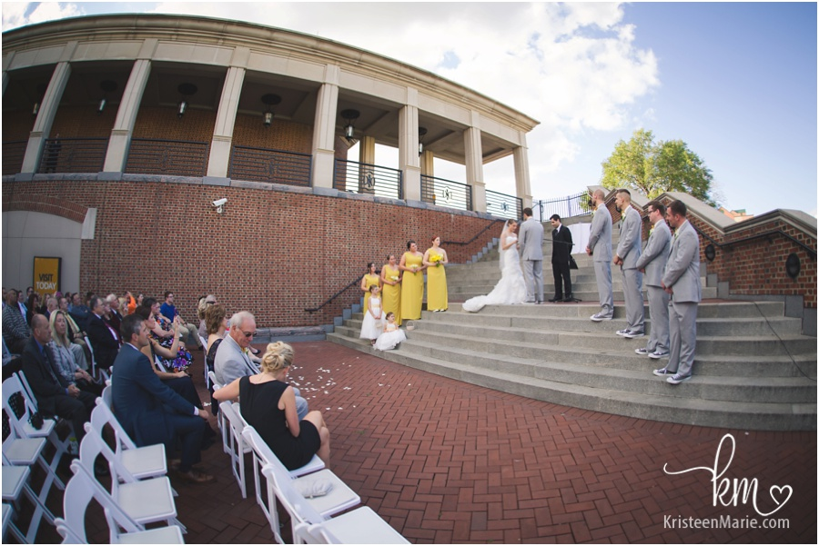 Wedding ceremony at Indiana Historical Center on Canal