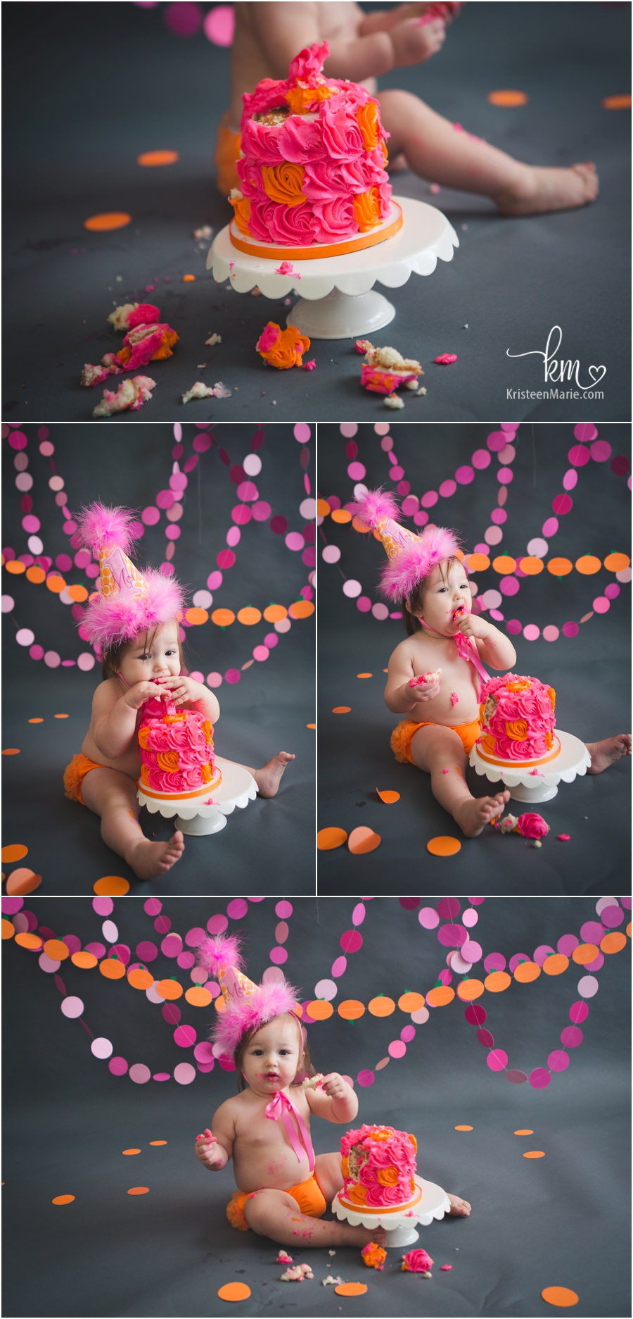 pink and orange cake smash session by KristeenMarie Photography