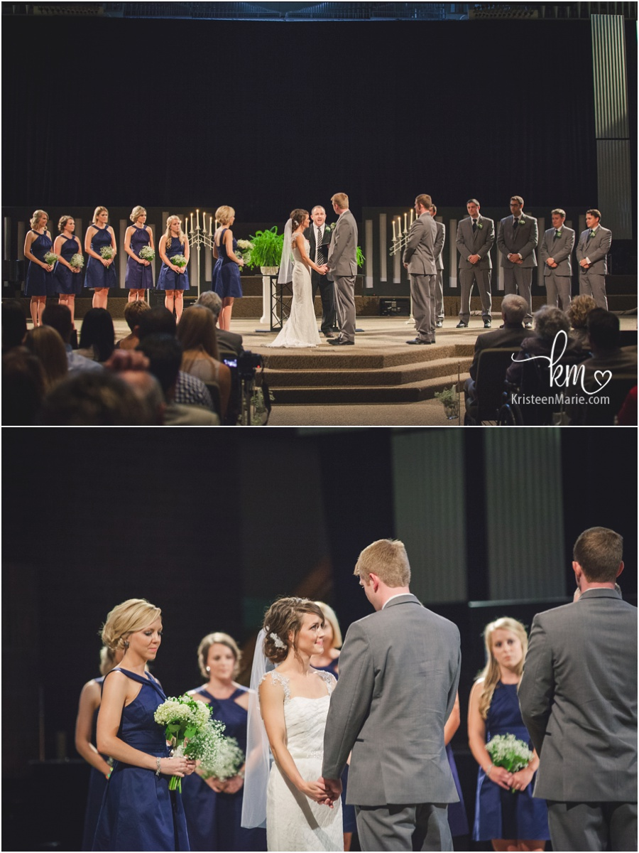 bridal party and bride and groom during ceremony at East 91st Street Church