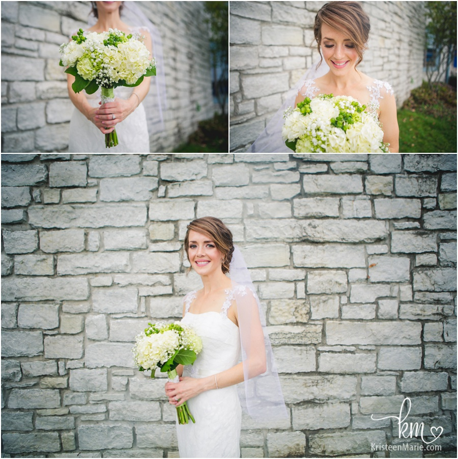 Bride in front of the Indianapolis Yacht Club Wedding