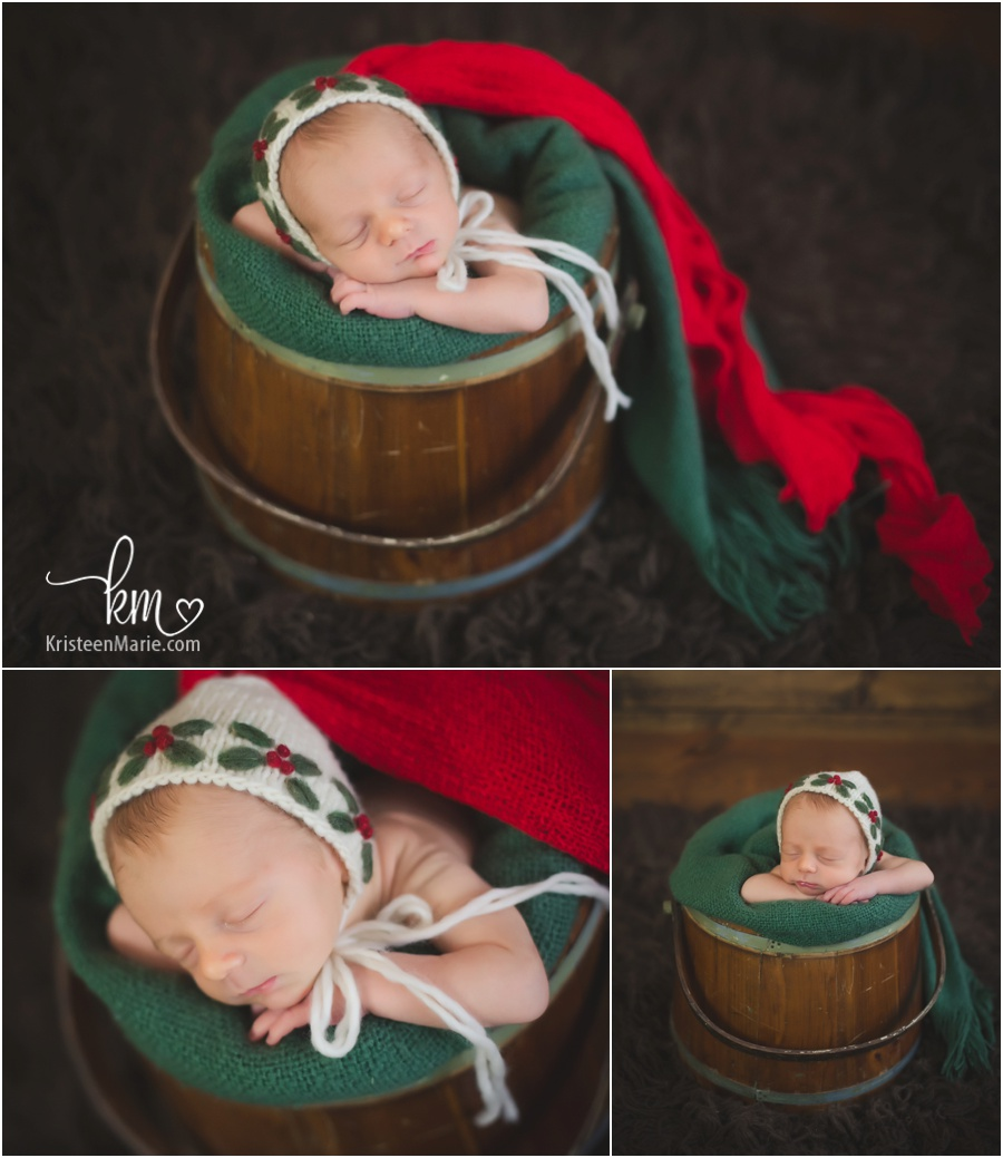 Christmas themed newborn photography set-up