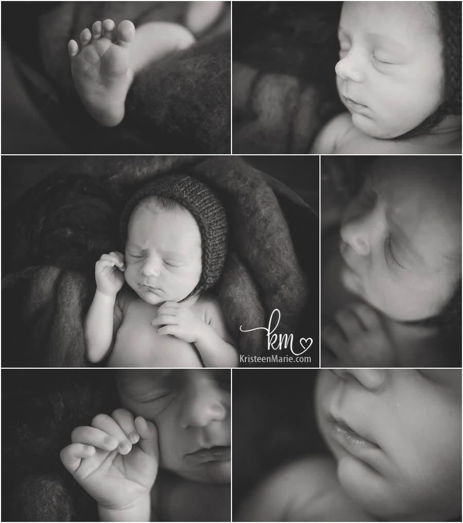 newborn baby features in black and white - macro newborn pictures