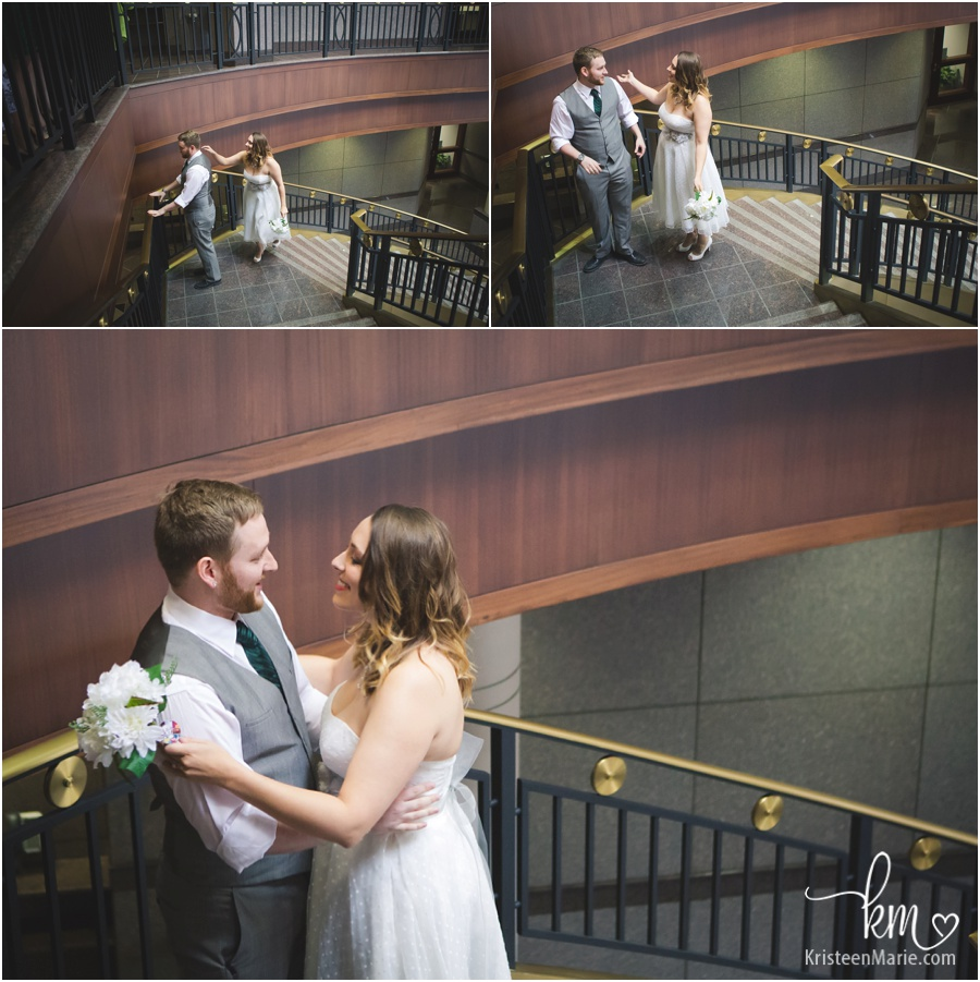 wedding first look at courthouse in Noblesville, Indiana