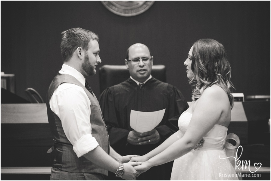 wedding ceremony picture in black and white
