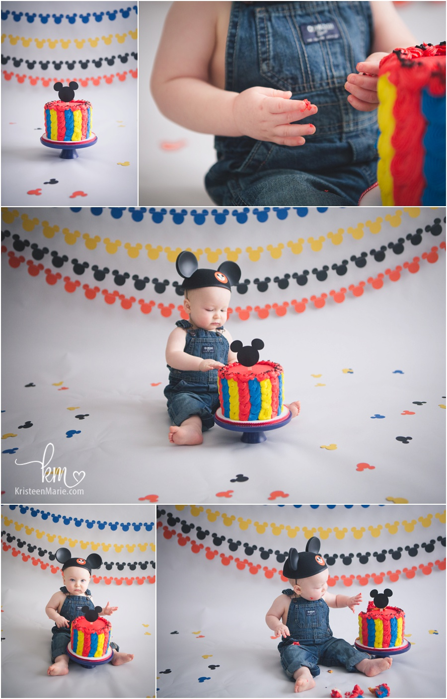 Mickey Mouse Cake Smash 1st Birthday Session by KristeenMare