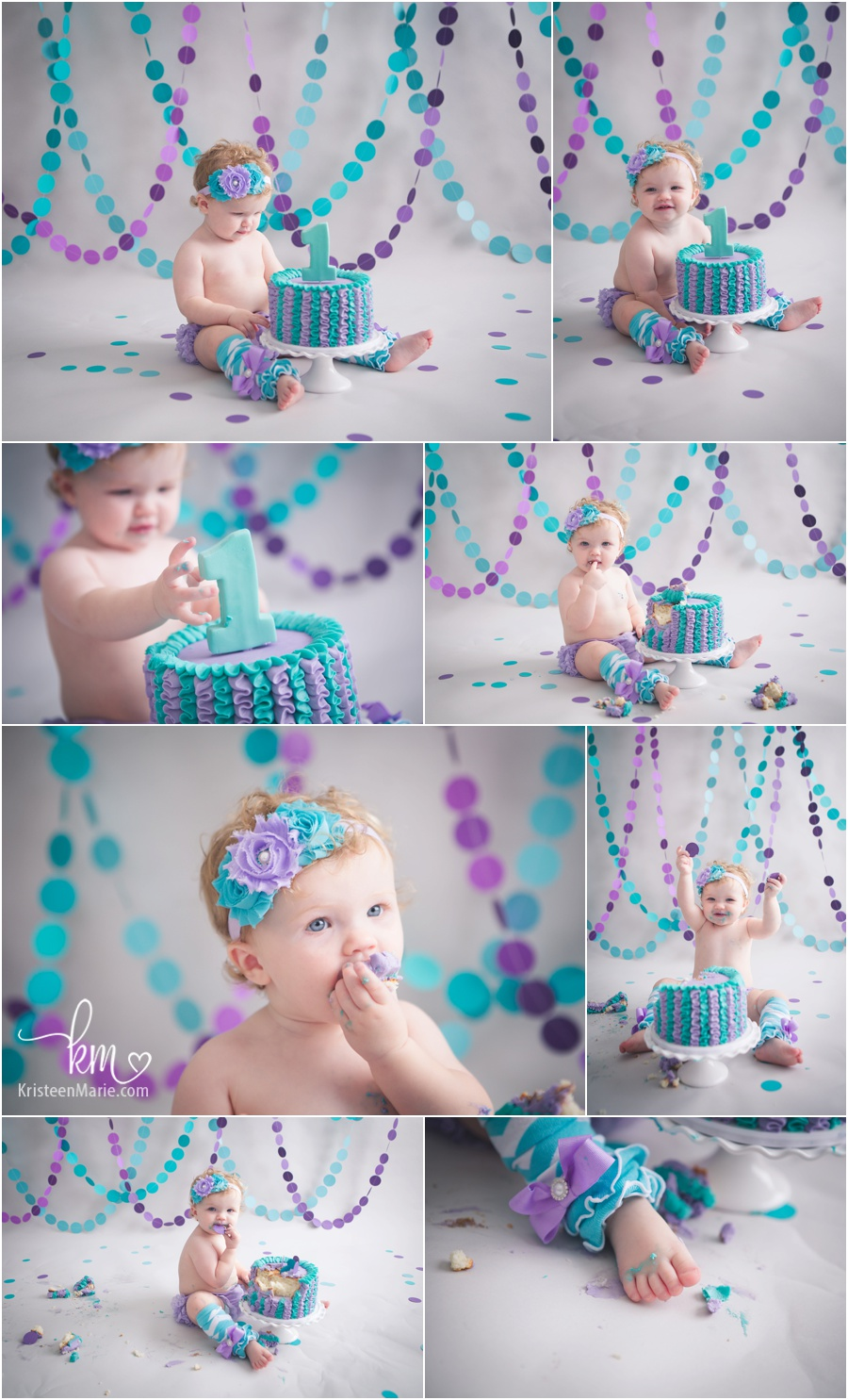purple and teal 1st birthday cake smash - girly birthday theme for cake smash photography