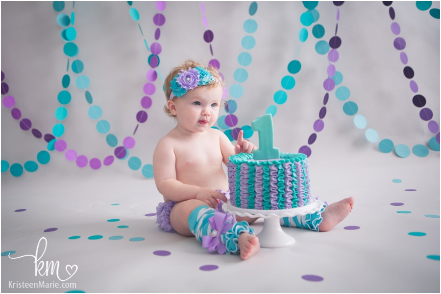 purple and teal cake smash session