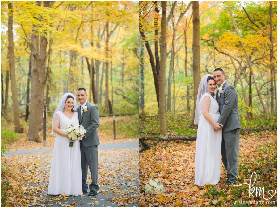 wedding couple in Fall colors - Fall wedding photography
