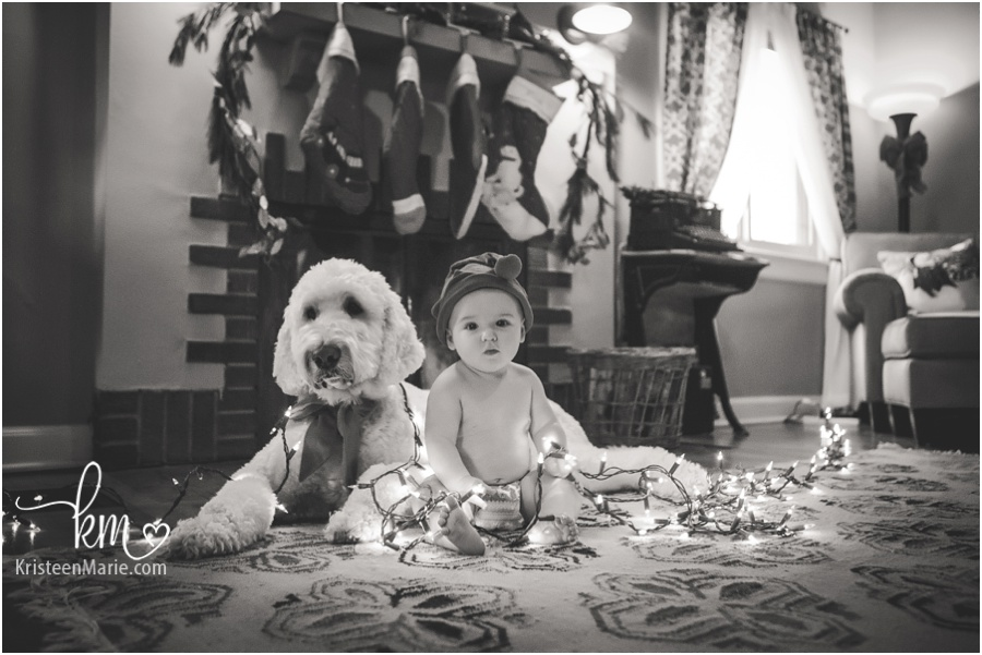 black and white Christmas card photo