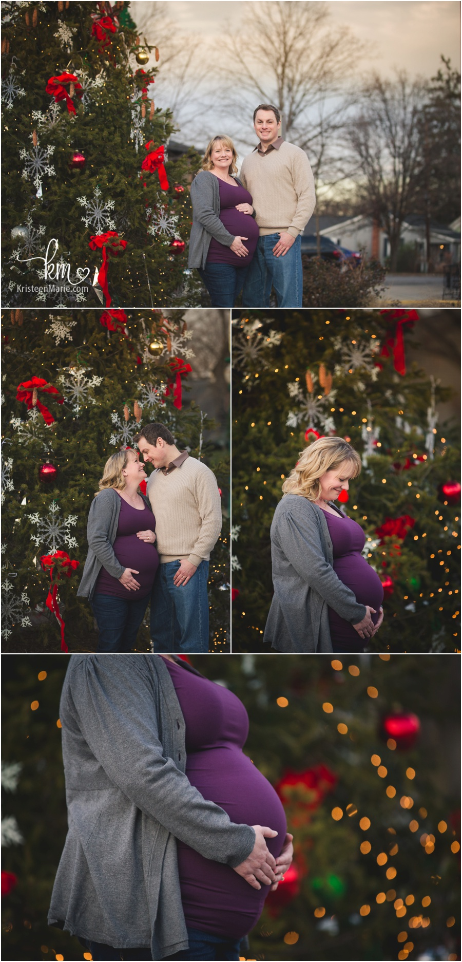 holiday themed maternity photography - expecting couple in front of Christmas tree