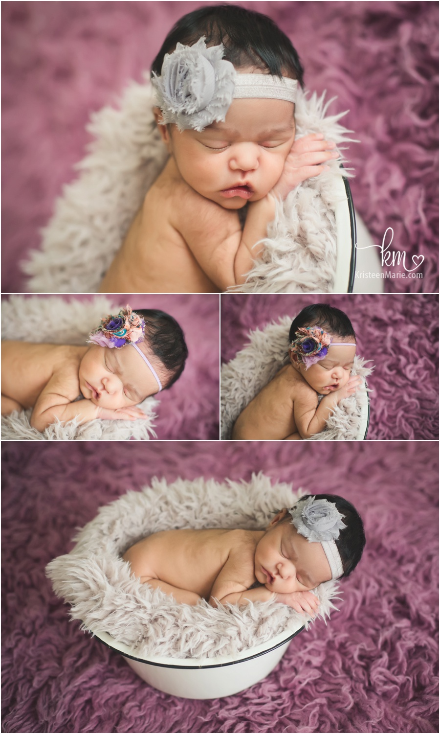 purple and grey newborn photography set-up by KristeenMarie Photography