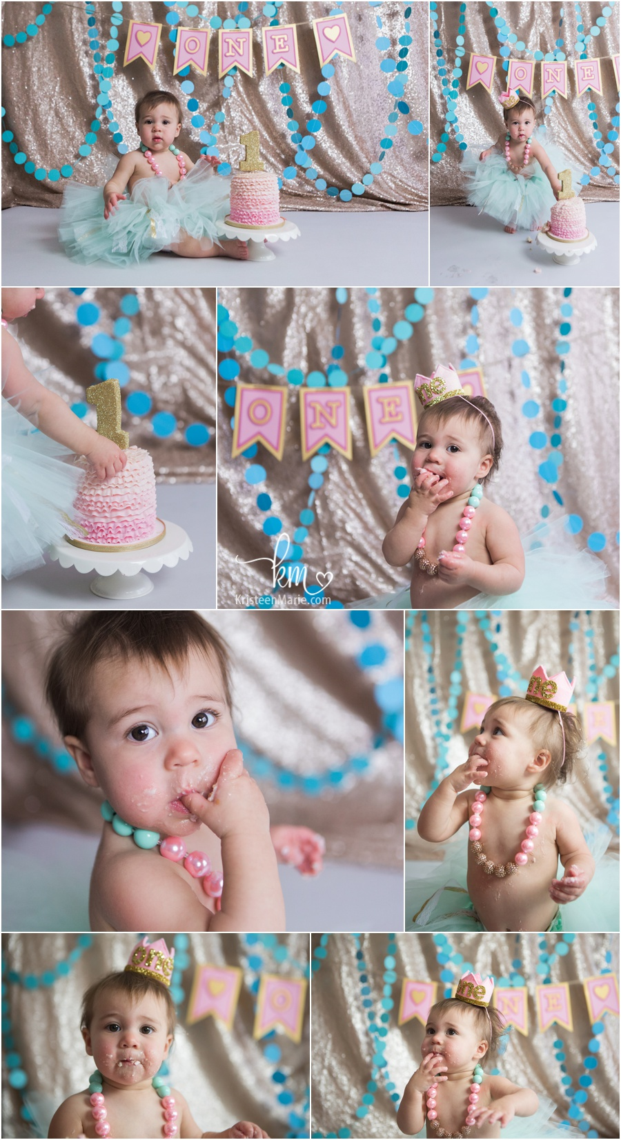 teal, pink and gold glitter cake smash session photography by KristeenMarie