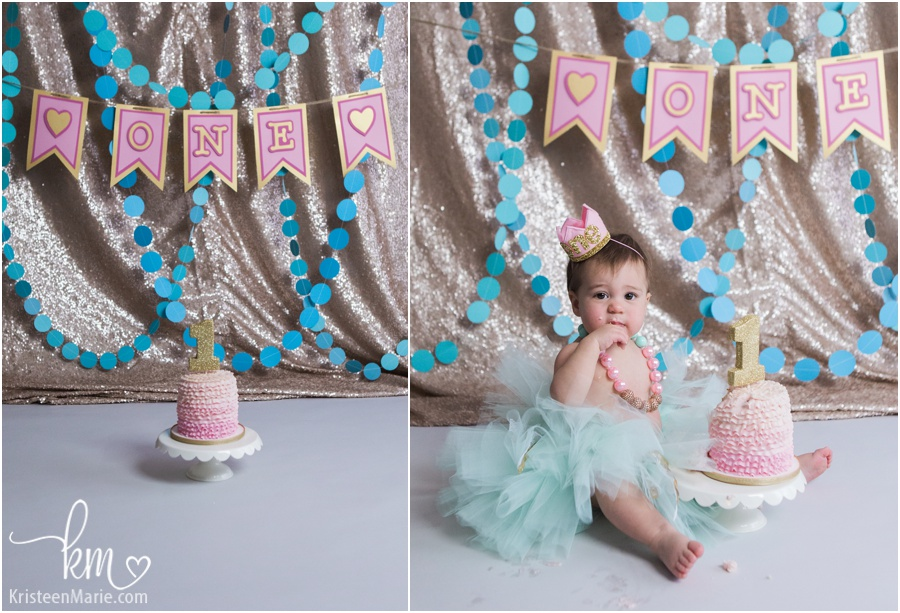 teal, pink and gold glitter cake smash session