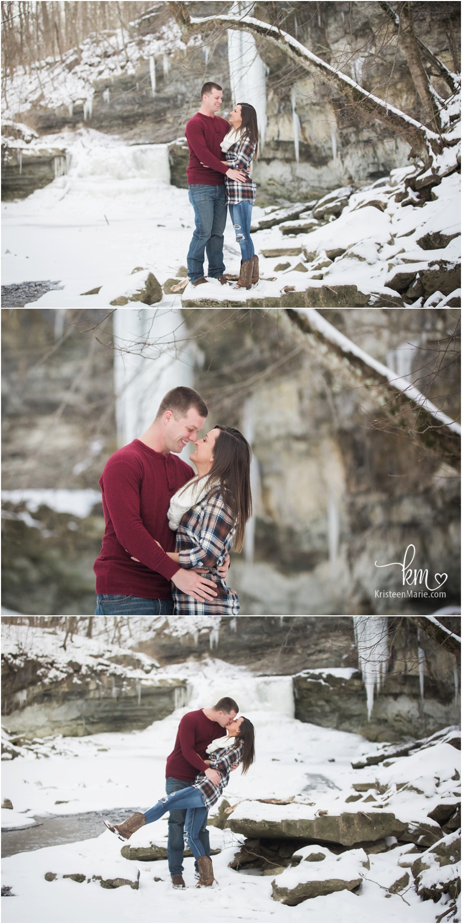 outdoor Indianapolis winter engagement photography - snow and ice