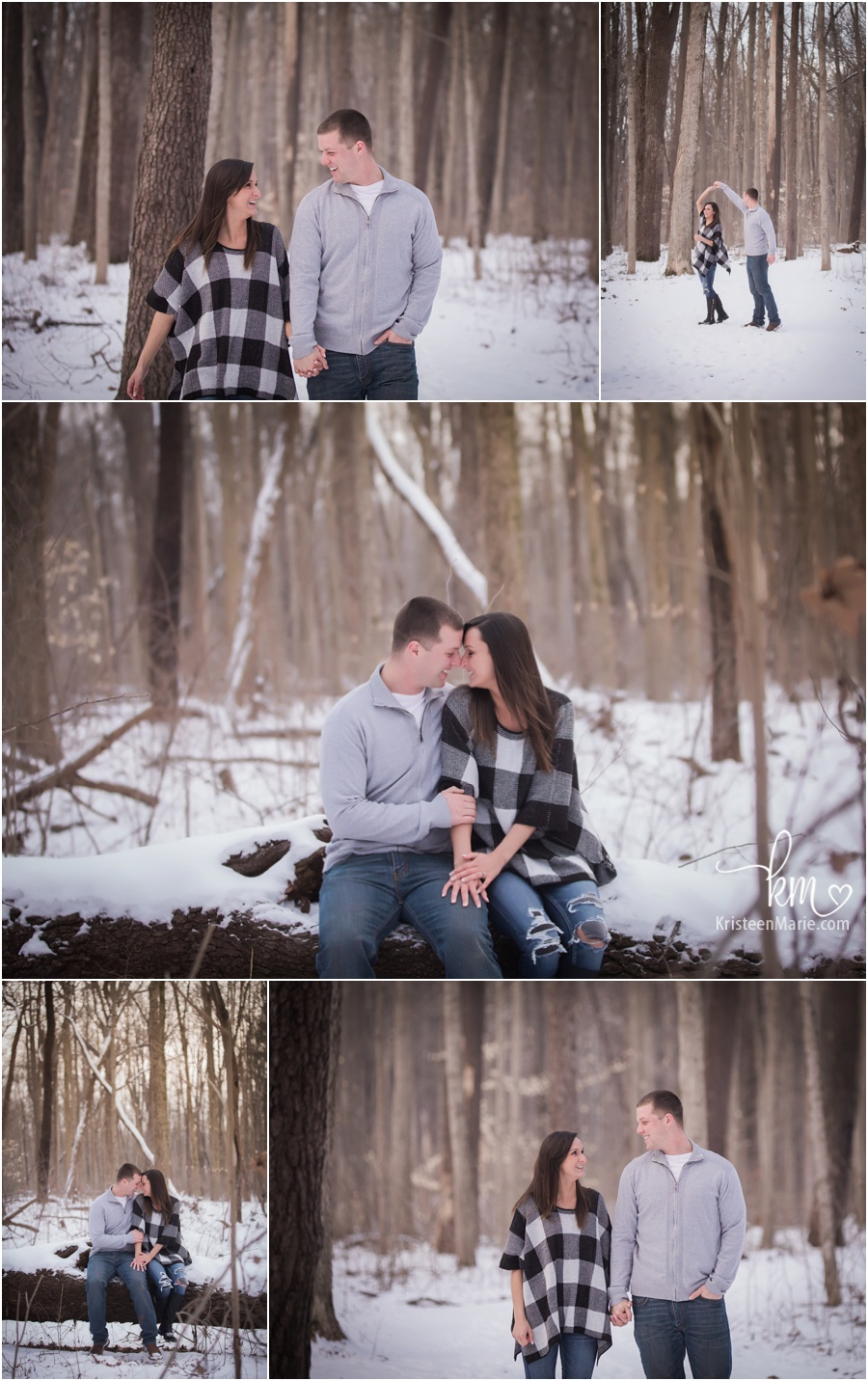 outdoor winter engagement photography - snow engagement pictures