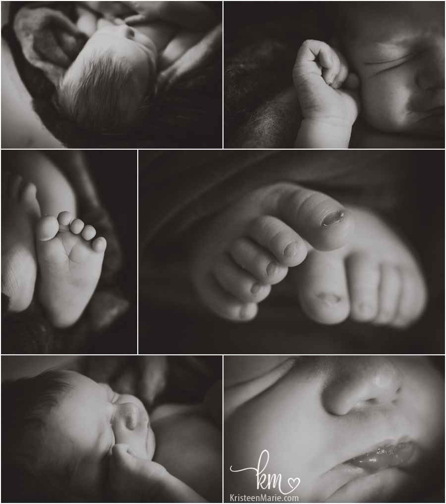 Newborn baby features in black and white love the macro shots of the newborn baby newborn photography