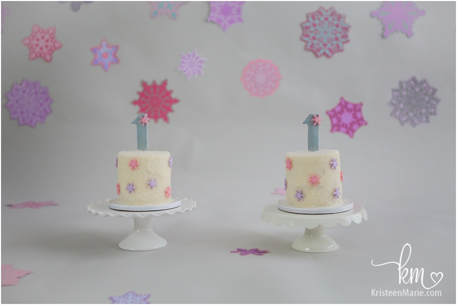 twin girls smash cakes - pink snowflake theme